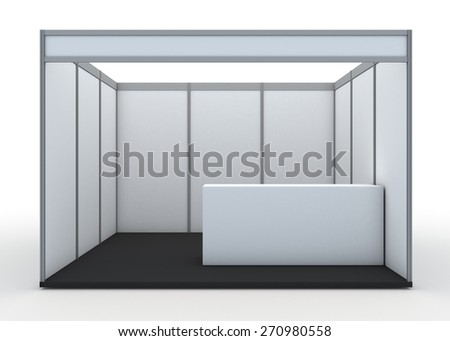 3D Rendering Blank Indoor Exhibition Trade Booth and Counter in Isolated Background with Work Paths,  - stock photo