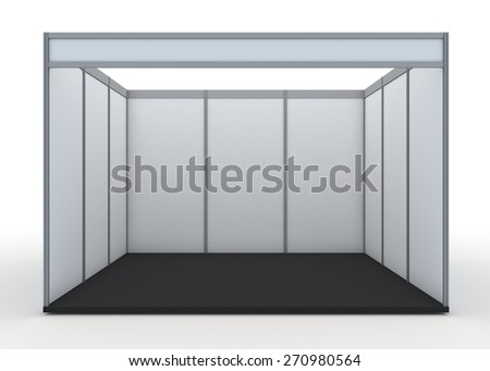 3D Rendering Blank Indoor Exhibition Trade Booth in Isolated Background with Work Paths - stock photo