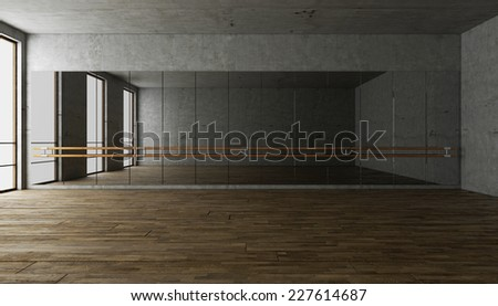 3d rendering. blank interior, biege wall blank dance interior. choreography room. dancing interior