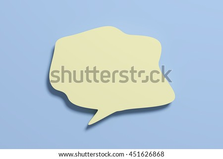 3D rendering blank yellow speech sign on blue background.Isolated. - stock photo