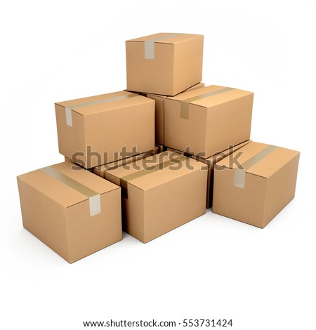 3D rendering Brown cardboard boxes rendering with different sizes