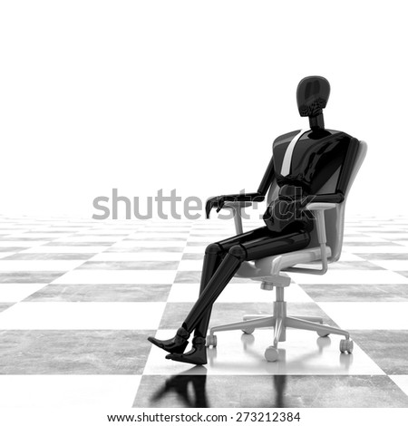 3d rendering businessman sitting on chair  - stock photo