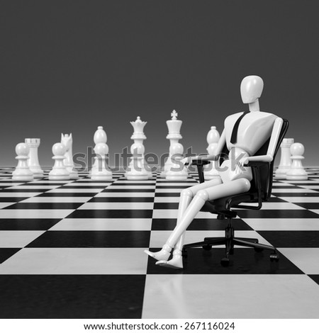 3d rendering businessman sitting on chair leader of chessman - stock photo