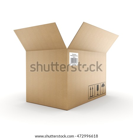 3D rendering cardboard box on a white background