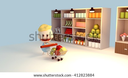 3d rendering cartoon character buying groceries at supermarket.