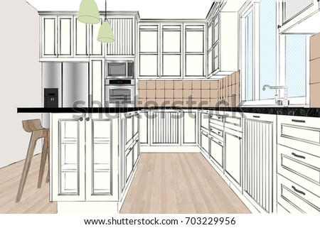 3D Rendering. Classic Kitchen Design In Light Interior. Kitchen Sketch.  There Is Also