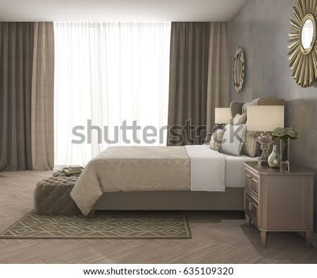 3d rendering classic luxury bedroom with pouf and curtain