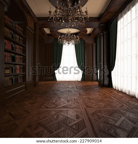 3d rendering. Classical Reading room - stock photo