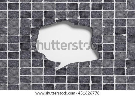 3d rendering close-up of empty speech sign with copy space carved in black ceramic tile - stock photo