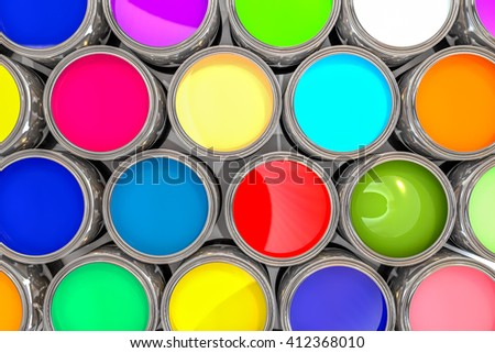 3D rendering colored paint pot from the top - stock photo