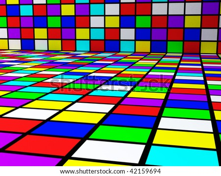 3D rendering colorful abstract squares