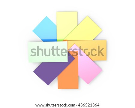 3D rendering Colorful card isolated with white
