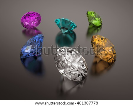3D rendering Colorful Diamonds on gray background.