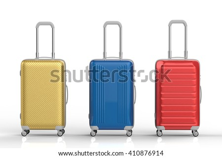 3d rendering colorful luggages on white background - stock photo