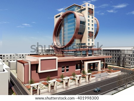 3d rendering - Commercial and administrative complex - top view - stock photo