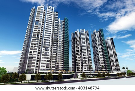 3d rendering - commercial and residential complex - main view - stock photo