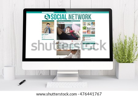 3d rendering computer social network on computer. All screen graphics are made up.