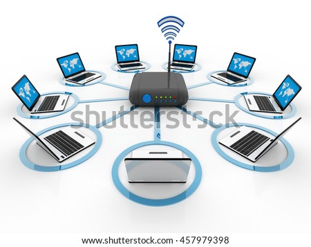 3d rendering computing devices - stock photo