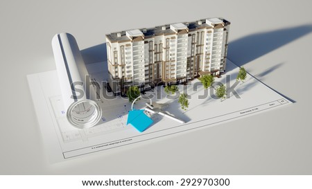 3D rendering conceptual image built the house and keys on white background - stock photo