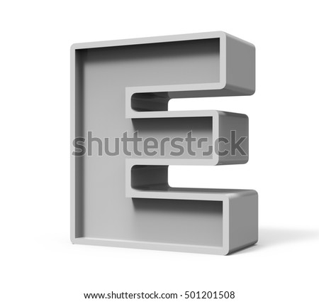 3d rendering concrete letter E isolated on white background, 3d rendering, right leaning