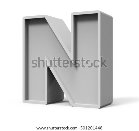 3d rendering concrete letter N isolated on white background, 3d rendering, right leaning