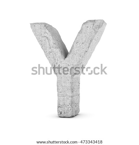 3D rendering concrete letter Y isolated on white background. Signs and symbols. Alphabet. Cracked surface. Textured materials. Cement object.