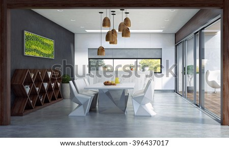 3D rendering Contemporary Dining Space with Big Sliding Door and Terrace.