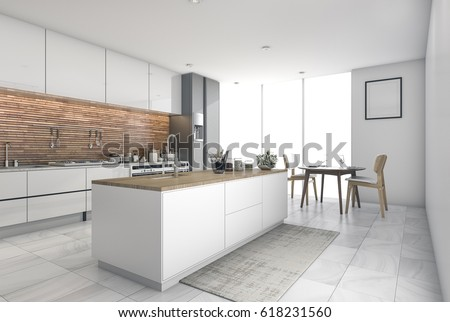 3d Rendering Contemporary Kitchen Bar In Dining Room