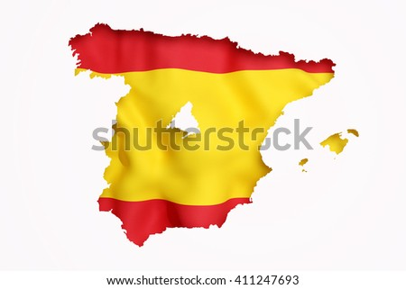 3d rendering contour of Spanish map with Madrid city.Spanish flag on background