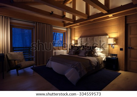 3D rendering cozy bedroom is in the attic of a chalet. Huge bed with numerous pillows dominates the room. The interior is decorated with wood and natural materials.