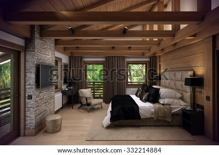 3D rendering cozy bedroom is in the attic of a chalet. Huge bed with numerous pillows is dominates the room. The interior is decorated with wood and natural materials. - stock photo