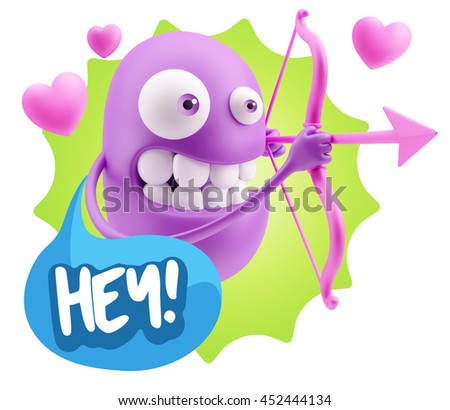 3d Rendering. Cupid Emoticon Face saying Hey with Colorful Speech Bubble.