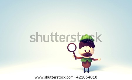3d rendering cute chubby detective cartoon character holding a magnifying glass. Spotlight and blank background. - stock photo