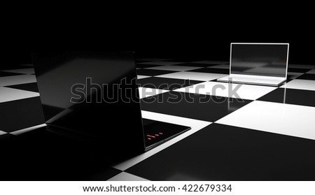 3D rendering, 3D illustration black and white computer on a chessboard, conceptual image advertising - stock photo