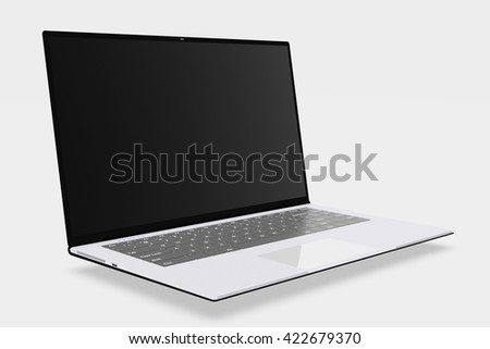 3D rendering, 3D illustration black computer on a white background, advertising, selling laptop Notebook - stock photo