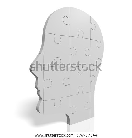 3D rendering/ 3D illustration - puzzle concept - human head shape. - stock photo