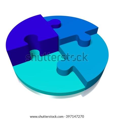 3D rendering/ 3D illustration - puzzle concept - teamwork/ success concept. - stock photo