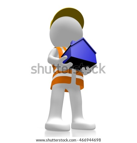 3D rendering/ 3D illustration - worker holding a house- great for topics like property developer etc.