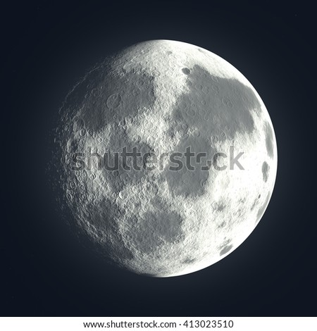 3D rendering dark night moon and blue atmosphere, close up view, digital illustration art work. - stock photo