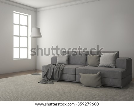 3d rendering daylight from window along the sofa and carpet - stock photo
