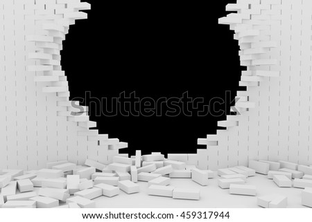 3D rendering Destruction of a white brick wall on black background