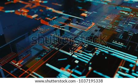 3D rendering. Digital binary data and electronic circuit board. Cyber security concept abstract background.