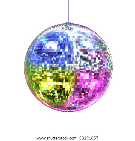 3D rendering disco ball isolated on white background - stock photo