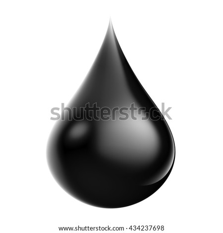 3d rendering droplet of crude oil on white background