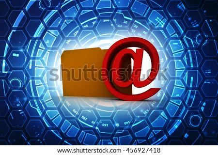 3d rendering e-mail in Folder - stock photo