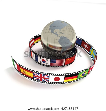 3d rendering earth,the flag in the film