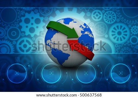 3d rendering Earth with arrow circle around