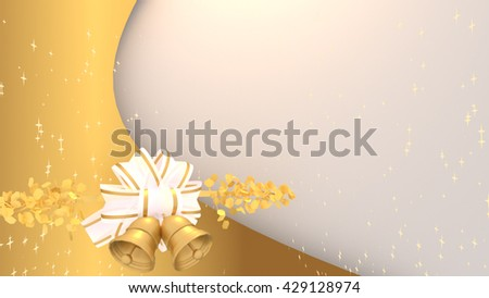 3d rendering elegant and beautiful christmas greeting card. Blank weekly planner schedule board template. Gold background, glossy white ribbon, shiny jingle bells and stars particles.