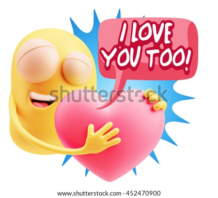 3 d rendering emoji saying love you stock illustration 452470900 emoji saying i love you too with colorful speech bubble altavistaventures Image collections