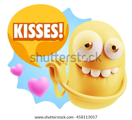 3d Rendering. Emoji saying Kisses with Colorful Speech Bubble.